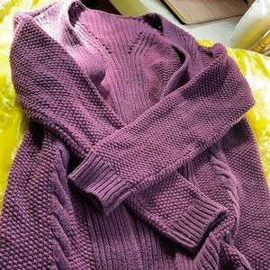 Vintage maroon cable knit cardigan sweater